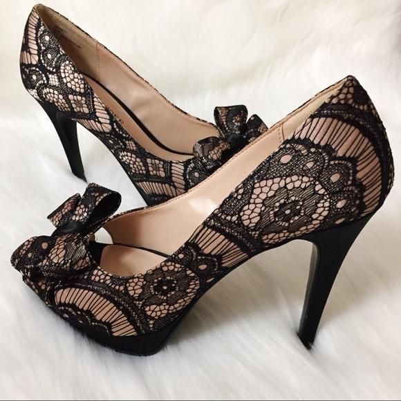 a120125021a Audrey Brooke Shoes - Audrey Brooke  Darcy  lace peep toe pumps